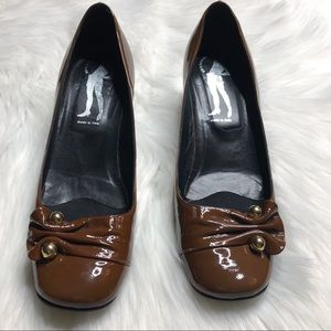 Belle by Sigerson Morrison Shoes - Belle Brown Patent Chunky Heel loafer Sz 9 EUC